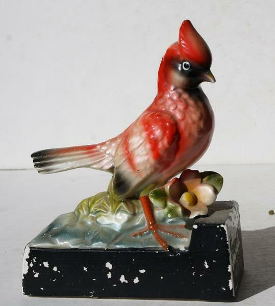 Cardinal Red Bird Figurine Ceramic Porcelain Hand Painted Unmarked Vintage-LOOK
