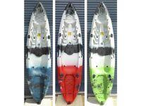 Sit on Top Kayak. Mamboola Fishing Edge kayak with seat, paddle and rod holders