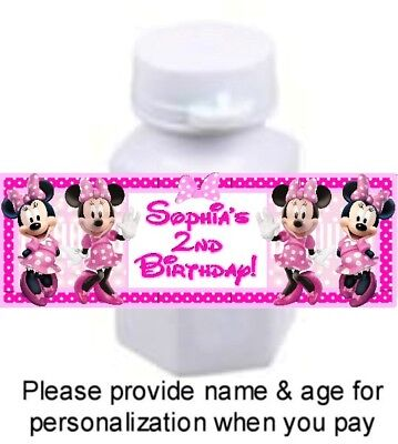30 Minnie Mouse Clubhouse Birthday Party Bubble Labels Stickers Baby Shower Pink - Baby Minnie Mouse Party Supplies