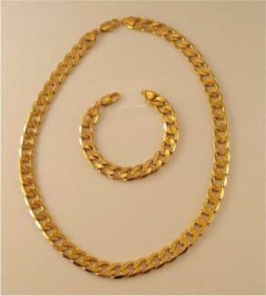 Thick Heavy 12mm 18K Gold Filled Chain Set - Necklace & Bracelet Slacks Creek Logan Area Preview
