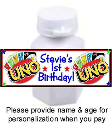 30 UNO Birthday Party Bubble Labels Stickers Playing Cards Game Favors 1st - 1st Birthday Games