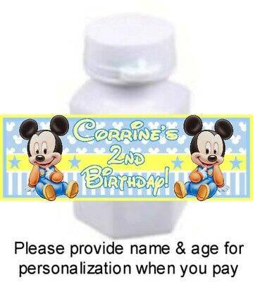 Baby Mickey Birthday (30 Baby Mickey Mouse Birthday Party Baby Shower Bubble Labels Stickers)