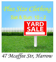 Plus size clothing yard sale