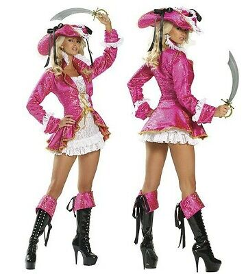 Anime Cosplay Costumes For Girls (Pink pirate costumes adult for women/girls Masquerade dress game anime cosplay)
