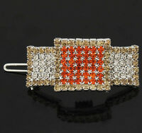 Square swarovski crystal small hair barrette clip clamp---new!!