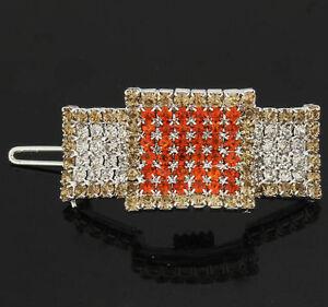 Square swarovski crystal small hair barrette clip clamp---new!!