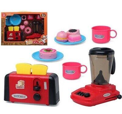 Juguete Set de Cocina infantil Tostadora, Batidora de vaso,tazas,platos,pasteles