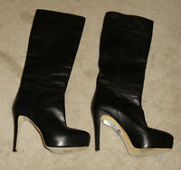 Brian Atwood black size 37.5 /37 Tall Lady Leather Boots / Shoes