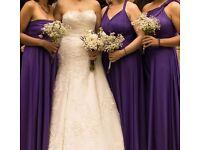 X3 wrap/ twist Bridesmaid dresses in Cadbury purple 3 different sizes