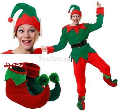 Weihnachten Elfen Kostüme (DAMEN HERREN ELF KOSTÜM 5 TEILIGES  ERWACHSENE WEIHNACHTEN VERKLEIDUNG SANTA'S H)