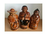 Set of 3 1970s Vintage P&K PEK Brown Ceramic Retro Coffee Tea Sugar Storage Jar