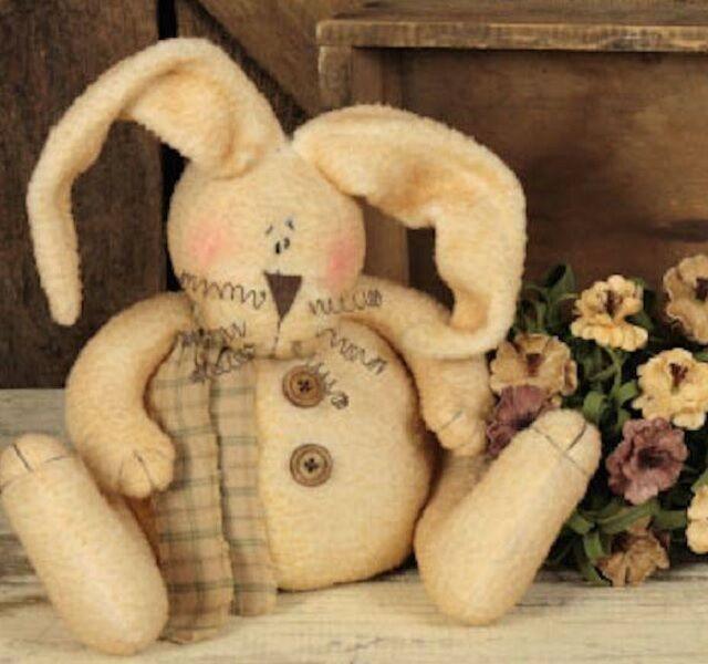 "Rabbit Shelf Sitter Farmhouse RABBIT Stuffed 9"" Soft Fuzzy EASTER BUNNY PLUSH"