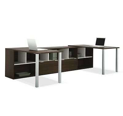 2 Person U Shaped Office Furniture Desk Work Area With Storage Credenza