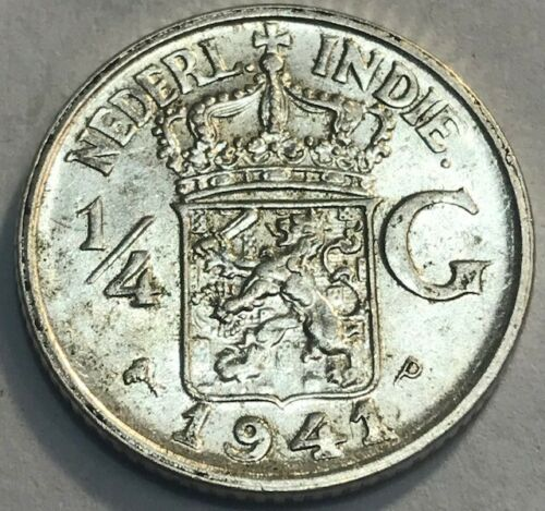 NETHERLANDS EAST INDIES - Silver 1/4 Gulden - 1941 (p) - Brilliant Uncirculated