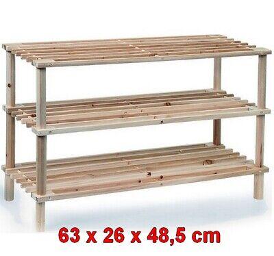 Zapatero organizador de zapatos madera 3 estantes,para 6 pares,63 x 26 x...