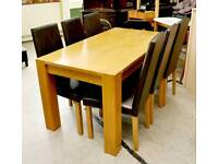 SALE NOW ON!! - Dining Table & 6 Faux Leather Chairs - Can Deliver For £19