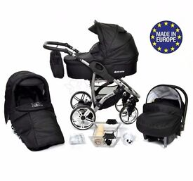 3 in 1 travel system (used for 2 mth ).solid black