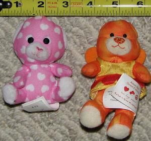 Qty 2 Mini Build A Bear Plush Stuffed Toys Pink & Orange London Ontario image 1