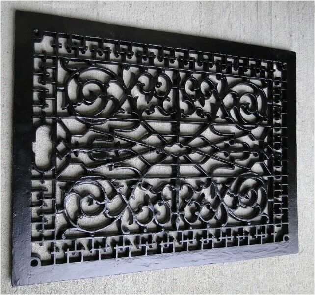 Big Rectangular Floor Grate Vent Replica Huge Solid Cast Iron Vintage Old Style