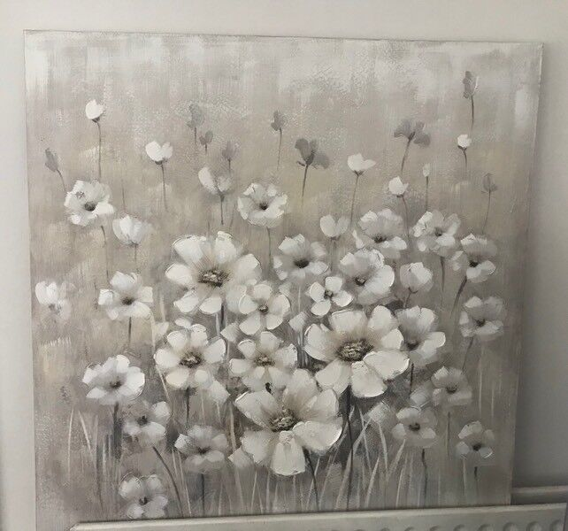 Large 100cm square flower canvas