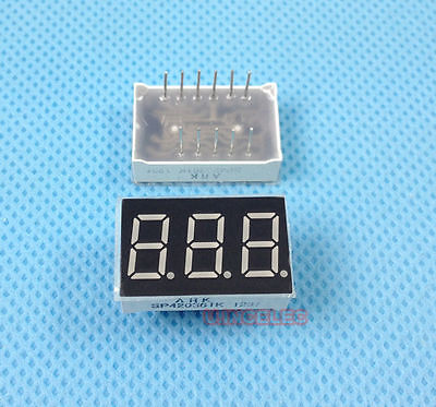 0.36 Inches 3-digital 7 Segment Led Display Common Cathode Ultra Red X15pcs