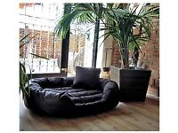 L / XL FAUX LEATHER BLACK DOG BED