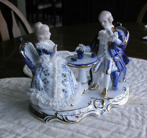 Limoges Figurine of Aristocrats Having Afternoon Tea Kitchener / Waterloo Kitchener Area image 3