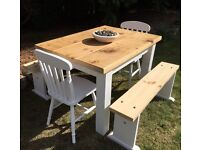 Rustic Pine Table, 2 Chairs & 2 Benches