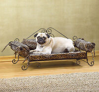 Safari Leopard Print Pet Bed With Metal Frame Couch-Style New