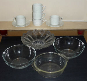 Glass Bowls, White Cups, w pattern,  Saucers Cambridge Kitchener Area image 1