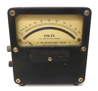 Weston Volt Meter Dc 25-1000 Cycles 0-300 Model 455 2358