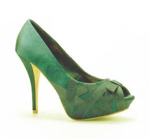 Zara - Green Satin PeepToe High Heel Shoes