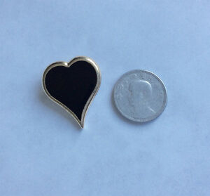 Vintage Sarah Coventry Gold-tone and Black Heart Brooch Pin