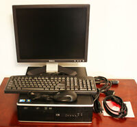 "INTEL QUAD CORE, HP ELITE 8000, 17"" MONITOR, KEYBOARD, MOUSE"