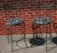 Pair of Pub Style Cast Iron Chairs