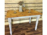 4FT RUSTIC SOLID PINE FARMHOUSE TABLE