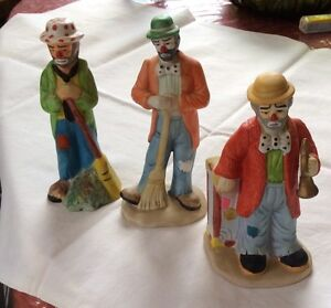 Vintage porcelain clowns