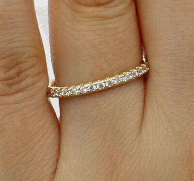 14K Real Yellow Gold Round Cut Pave Set Bridal Wedding Anniversary Ring Band