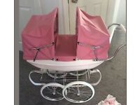 Twin silver cross coach built dolls pram