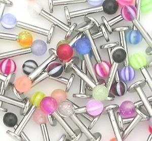 10-x-Stainless-Steel-Ball-Top-Lip-Studs-Tragus-Ear-Rings-Monroe-Bars-Labret