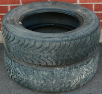 2 Goodyear Nordic 185/70R14 Tires 30 - 40% Tread Left