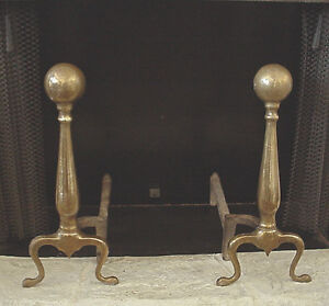 Set of Traditional Ball Top on Baluster Brass Cast Iron Andirons