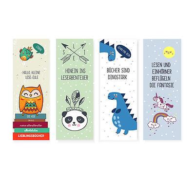 ichen für Kinder (Eule, Panda, Dino. Einhorn) NEU (Lesezeichen Für Kinder)