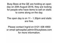 Stalls wanted for open day at busy bees nursery QE