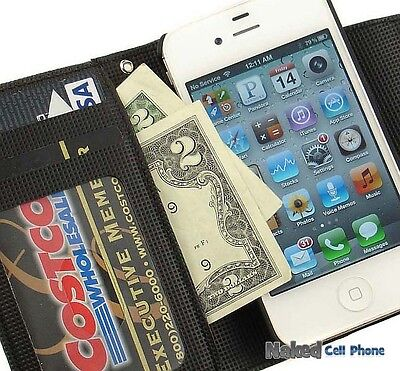 Black Carbon Fiber Wallet Case Id Credit Card Slot Pouch Lanyard For Iphone 4s 4 on Sale