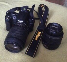 Nikon d5000 digital camera with 2 nikon lenses