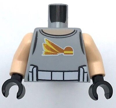 Lego New Minifig Light Bluish Gray Torso Spacesuit Silver Zipper Orange Harness