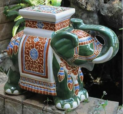 Porcelain Garden Stool Glazed Ceramic Elephant Plant Stand Patio Accent - Green Ceramic Garden Stool