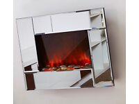 Wall mounted mirrored electric fire