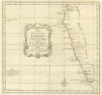 'Coste Occidentale d'Afrique…' Namibia South Africa Angola coast BELLIN 1746 map